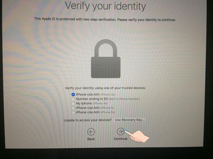 Xác nhận thông tin Apple (nếu dùng bảo vệ 2 lớp của Apple) > Continue