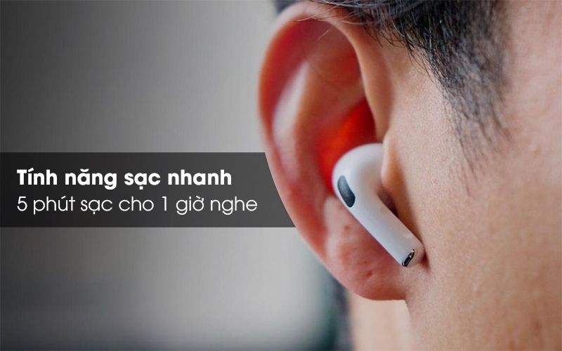 Tai nghe Bluetooth Airpods Pro Apple Trắng 5 phút sạc cho 1 giờ nghe